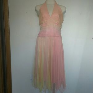 Dresses & Skirts - Laundry Shelli Segal chiffon beaded halter dress